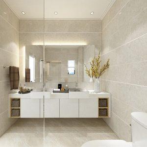 Modern Contemporary (Beige and White) (Minimalistic Theme Bathroom)