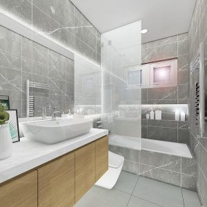 The Art of Grey and White (Minimalistic and Contemporary Theme Bathroom)