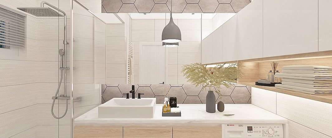 Geometry Modern Contemporary Bathroom with Hexagon tiles
