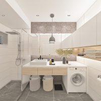 Geometry Modern Contemporary Bathroom with Hexagon tiles